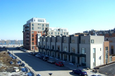 Faubourg-Quebec development in Old Montreal with row houses, buildings by Provencher Roy + Associés